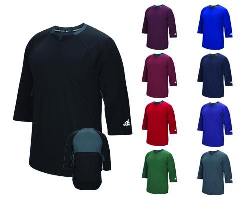 Adidas Climalite Fielder's Choice 3/4 Sleeve Henley