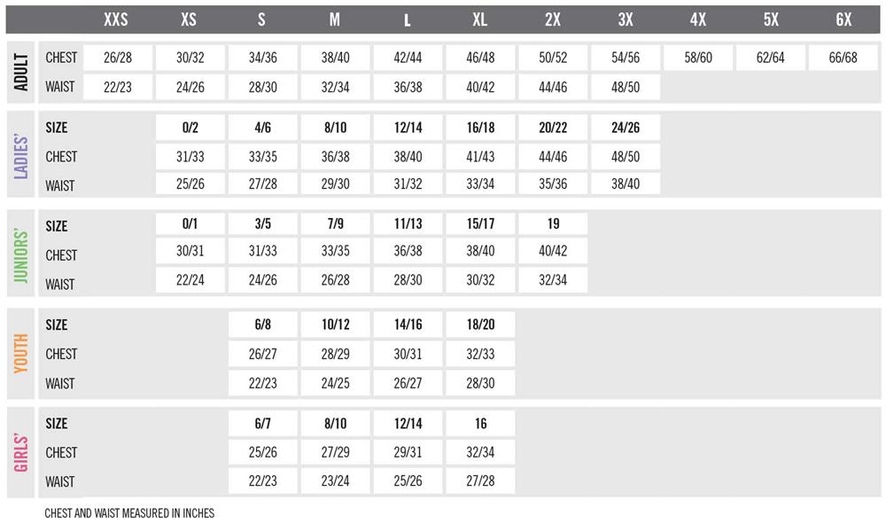 Holloway Size Charts